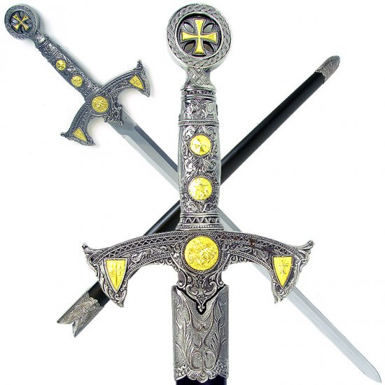 One Handed Crusader Templar Sword - Click Image to Close