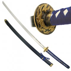 45 1/2 inch Blue Long Handle Traditional Katana