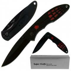 Deluxe Black and Red Spider Stainless Steel Locking Folder