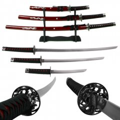 Deluxe Red Dragon Katana Samurai Sword Set of 3 w/ stand