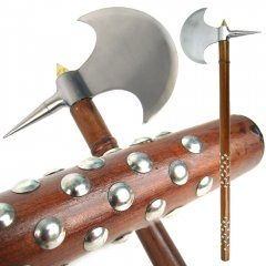 Authentic Medieval Axe with Studded Wood Handle