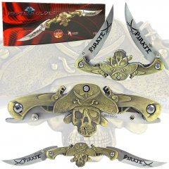 9.5 Inch Dual Blade Stainless Steel Pirate Folder