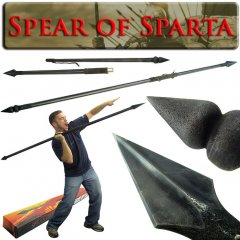 Spartan Warrior Spear - Suede Leather Grip - 7 Feet Long