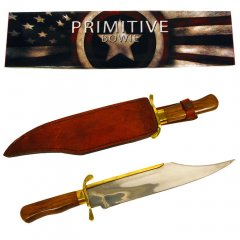 Brass Wood Stainless Steel Primitive Bowie 18 inch Knife