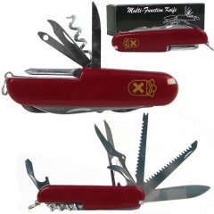 Red 13 Function Swiss Type Army Knife - 3.5 Inches Closed