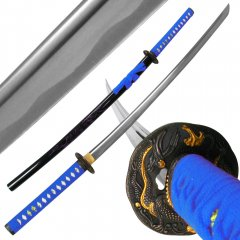 Katana w/ Blue Dragon Tsuba and Scabbard - 40 inch